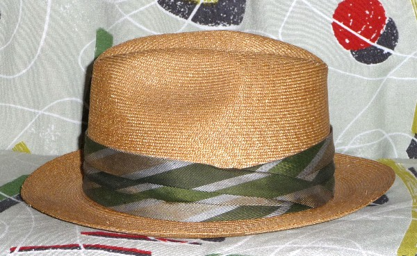1950 s hat  2. Tan straw weave summer hat with green and gray band. 2 3 4.